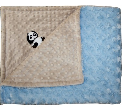 Mocha Minky Dot/Baby Blue Swirl Blanket with PANDA